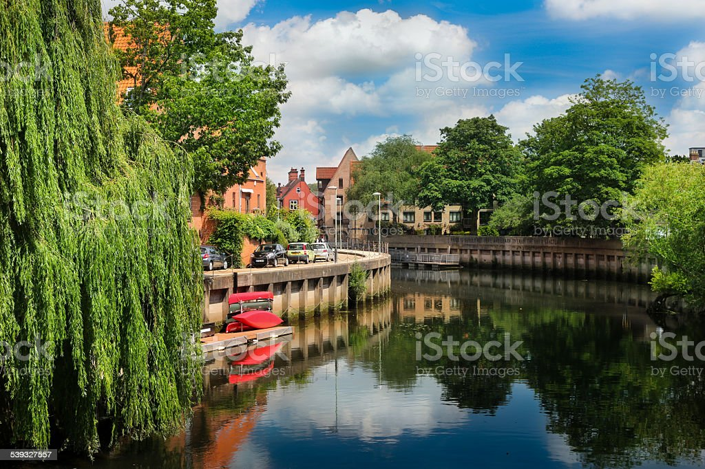 Norwich Houses Overlooking River Wensum stock photo