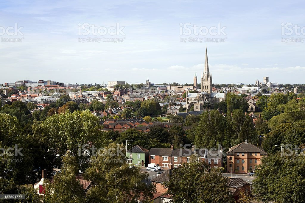 Norwich seen from Mousehold Heath stock photo
