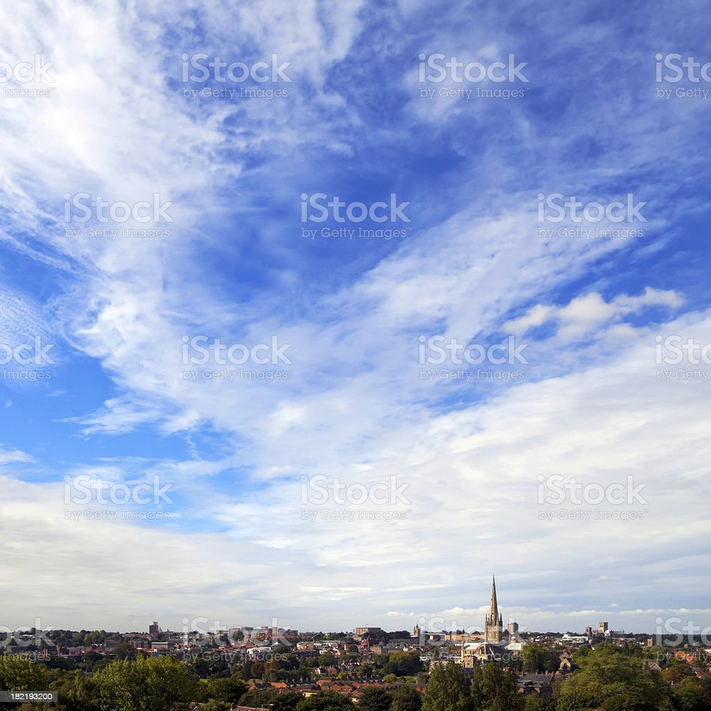 Norwich skyline from Mousehold Heath stock photo