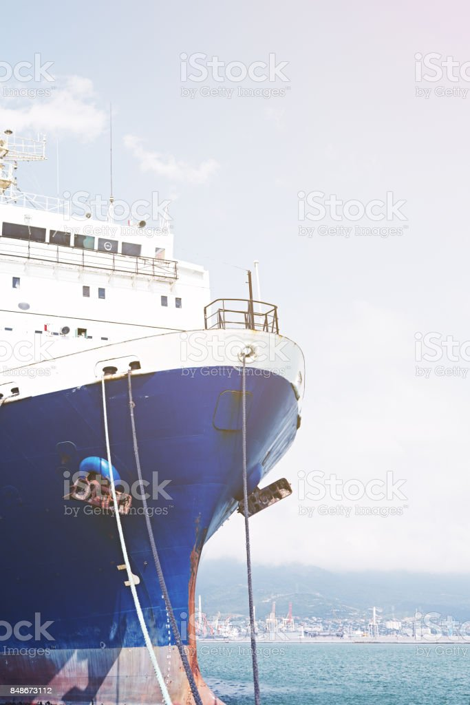 Nose is moored cargo ship. stock photo