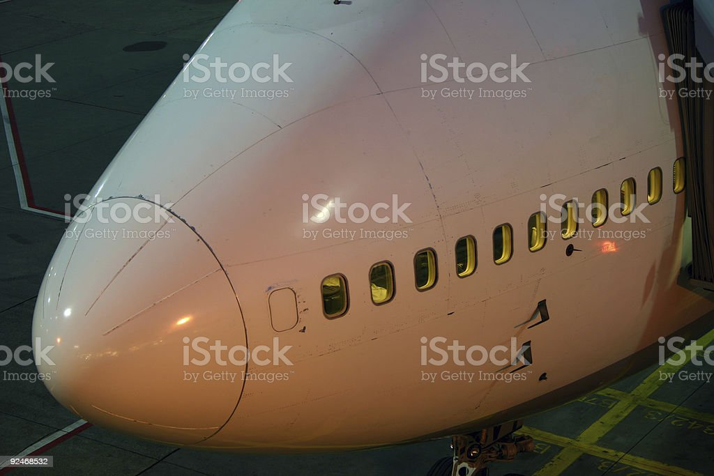 Nose of a Boeing 747 airplane royalty-free stock photo