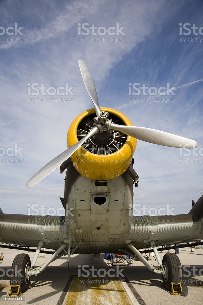 Nose of an old Junker World War II airplane royalty-free stock photo