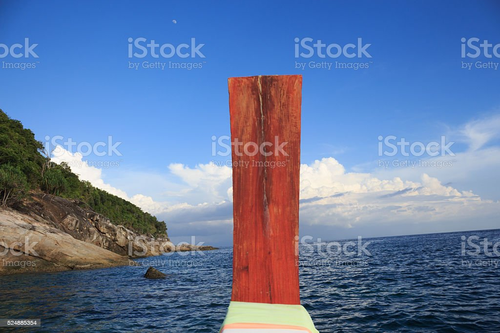 nose of long tail boat in a sea, desination way stock photo