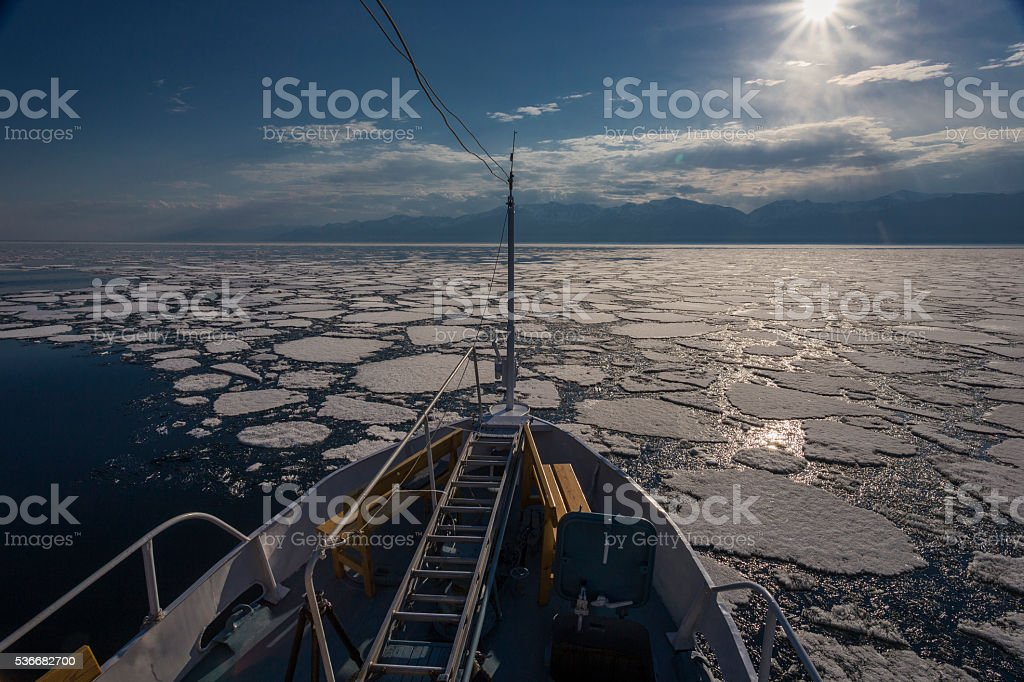 Nose of ship and view to icebergs stock photo