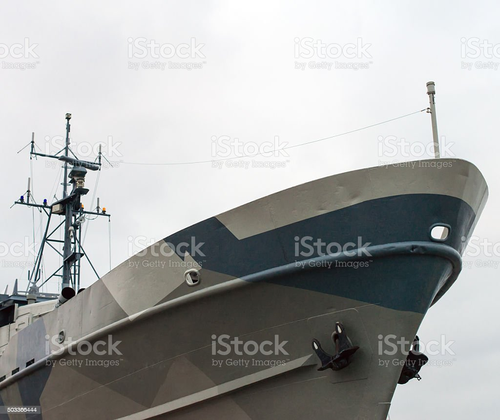 Nose of the naval ship. stock photo