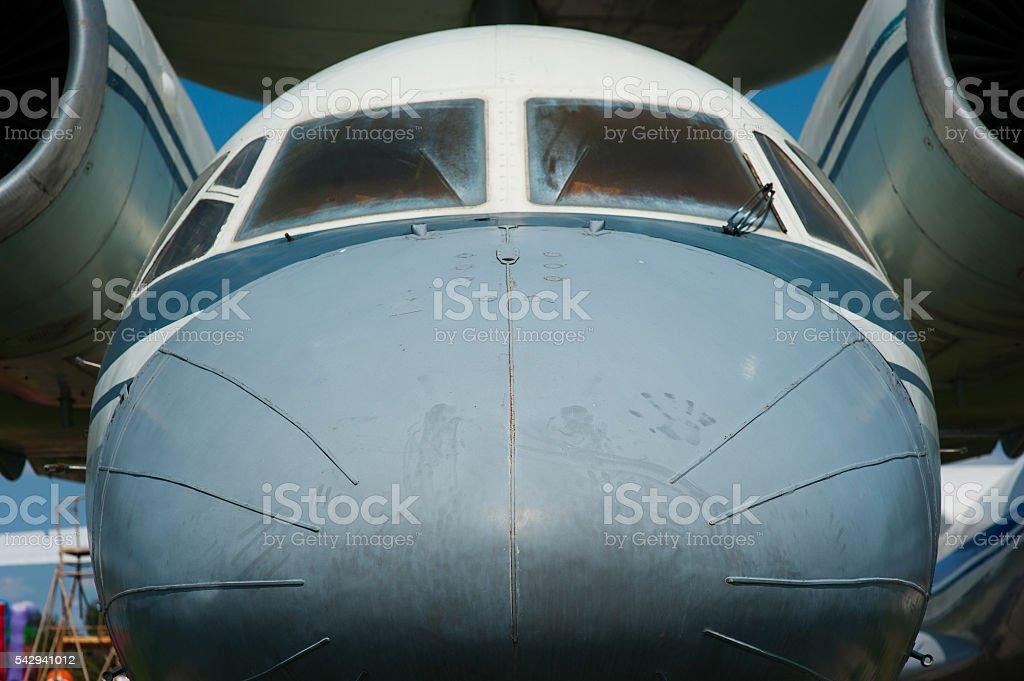 nose of the old Soviet passenger plane stock photo