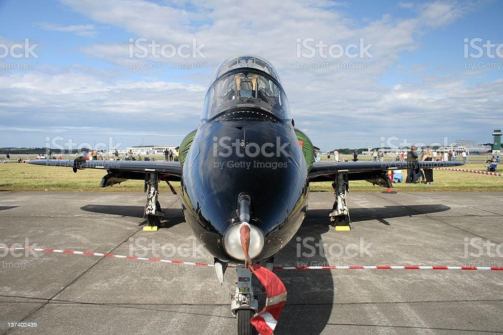 Nose view of BAE Hawk jet plane stock photo