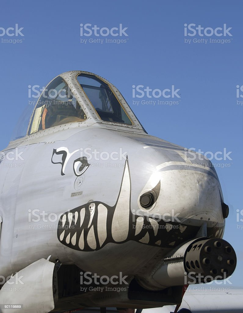 Nose view of military jet royalty-free stock photo