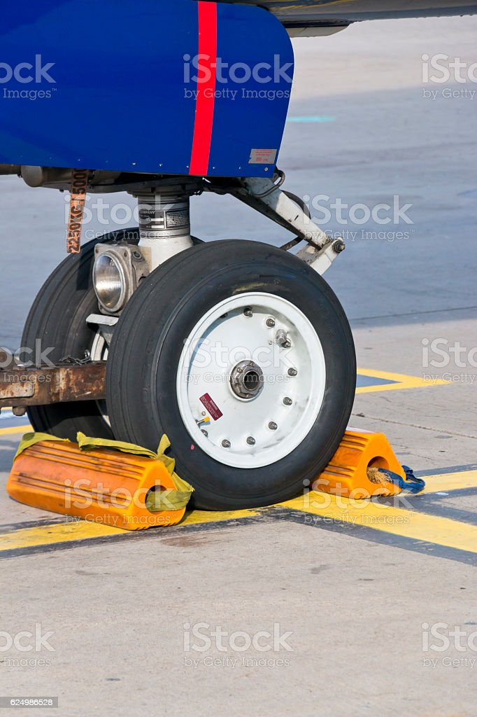 Nose wheel of a large aircraft stock photo