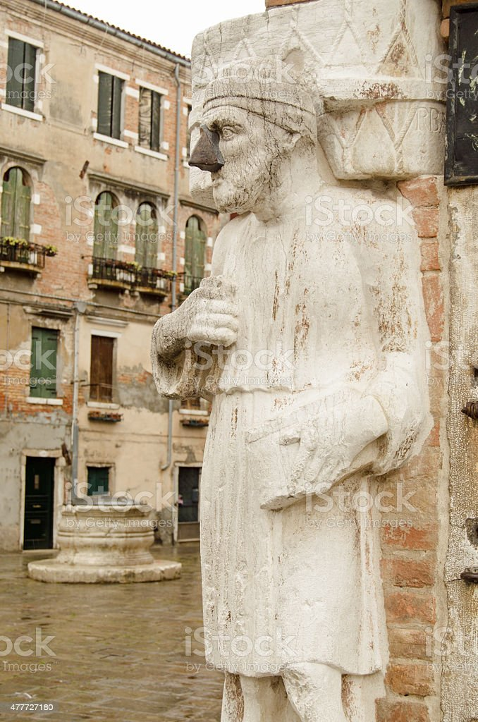 Noseless statue, Venice, Italy stock photo
