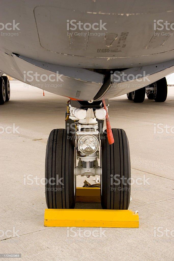 Nosewheel of Military cargo Jet stock photo