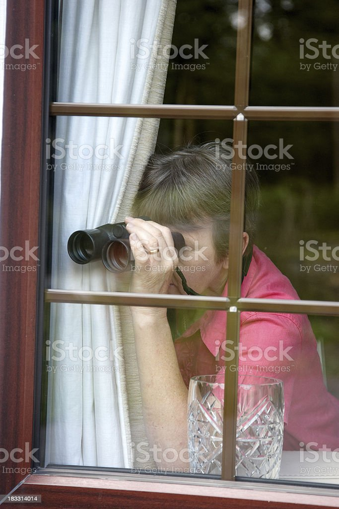 Nosey neighbour at the window with binoculars stock photo