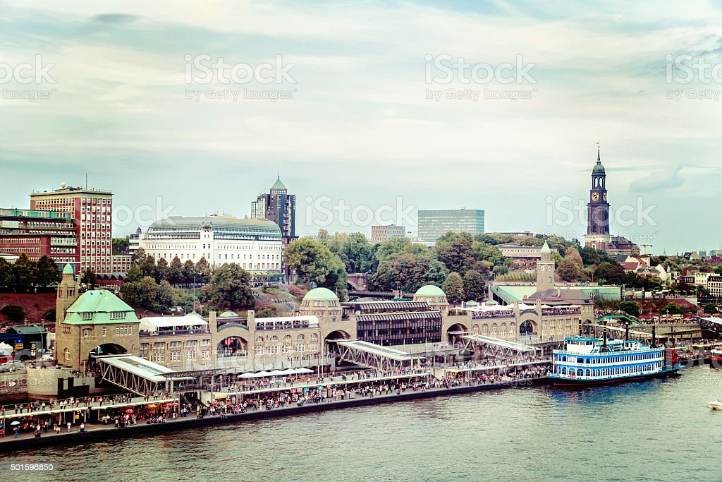 Nostalgia at the famous ship-landing-stages of Hamburg stock photo
