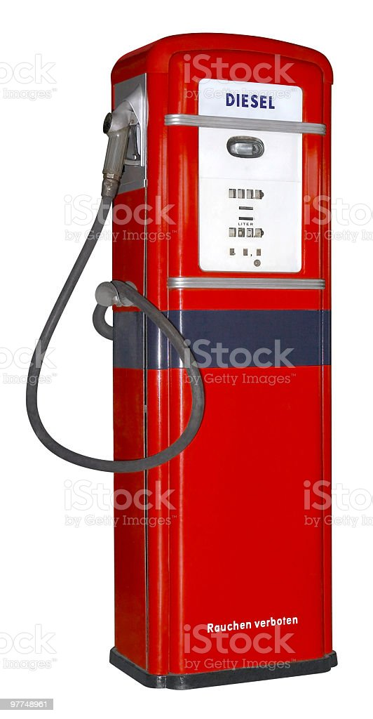 nostalgic red filling pump stock photo