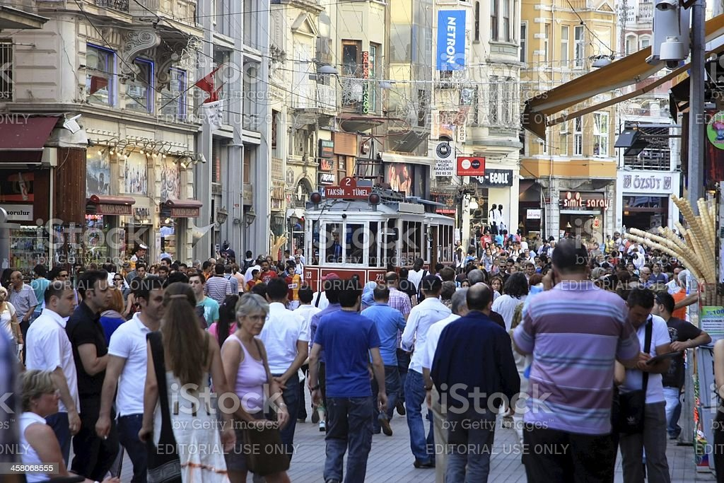 Nostalgic red tram in Istiklal Street stock photo
