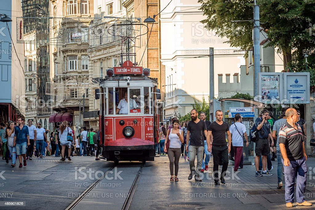 Nostalgic red tram of Taksim in Istanbul, Turkey. stock photo
