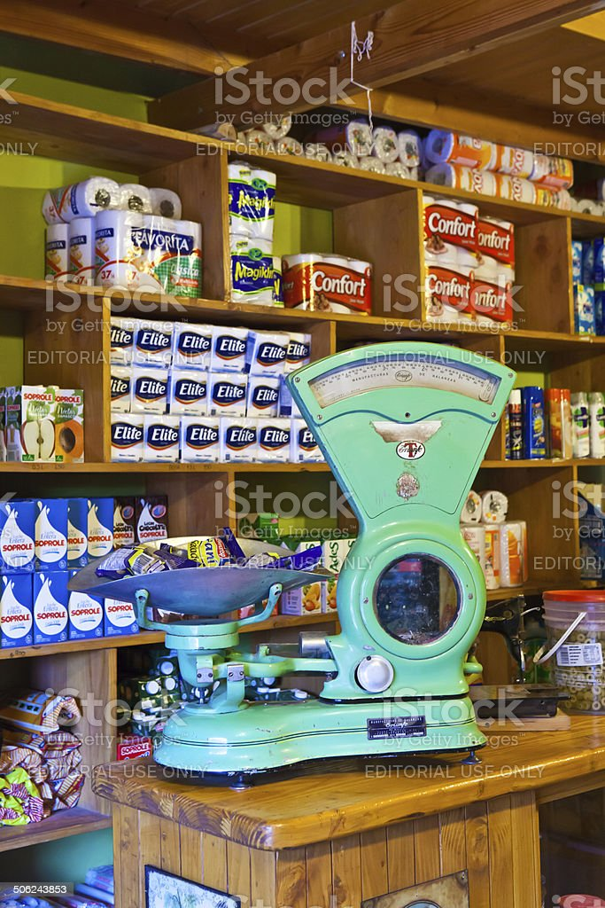 nostalgic scale in shop stock photo
