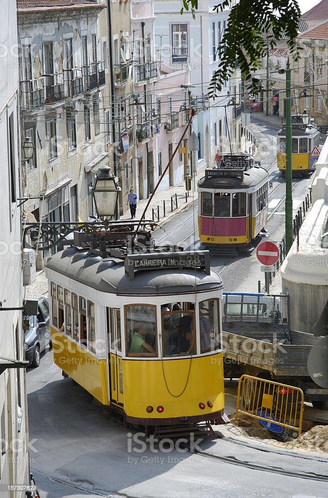nostalgic trams in lisbon stock photo