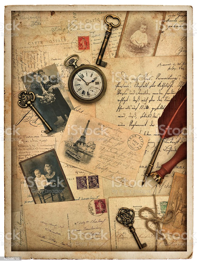 nostalgic vintage styled background with old photos stock photo