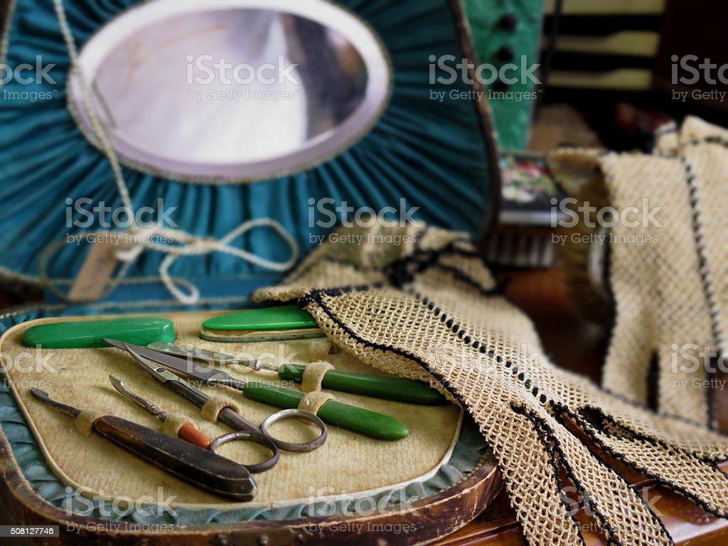 Nostalgic woman accesories stock photo
