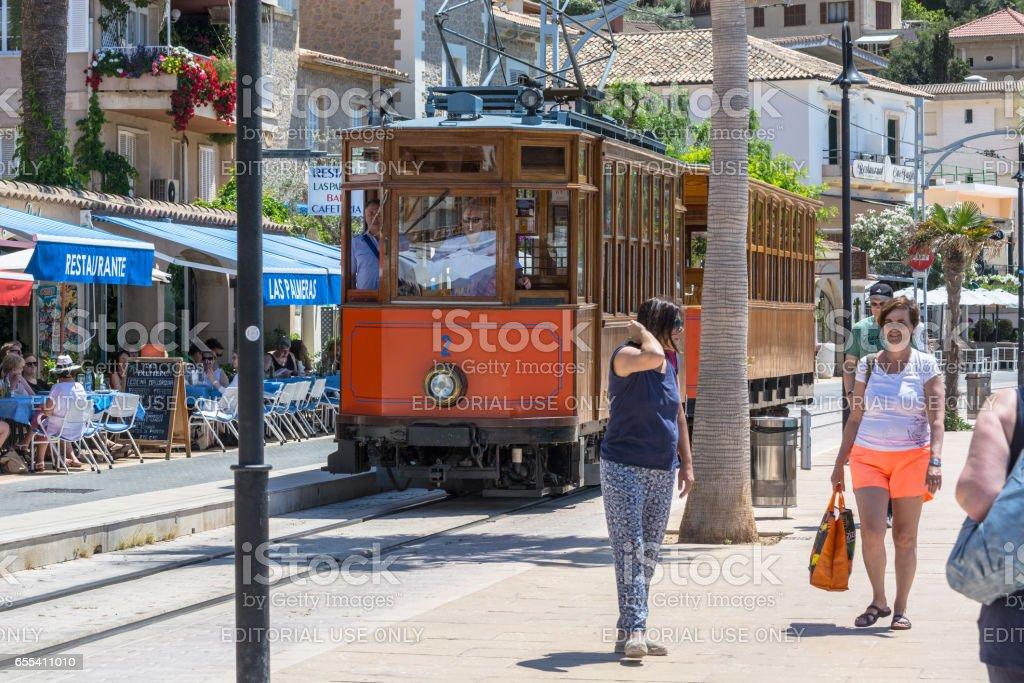 Nostalgiezug, Straßenbahn in Port de Soller, Mallorca stock photo