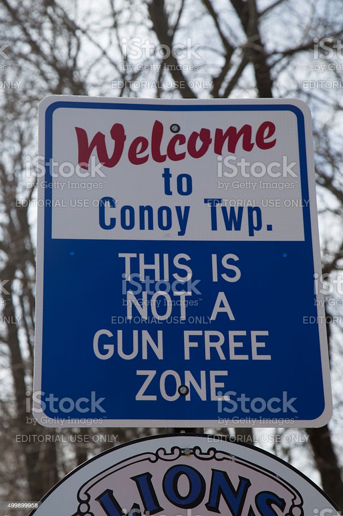 Not a Gun Free Zone Sign stock photo