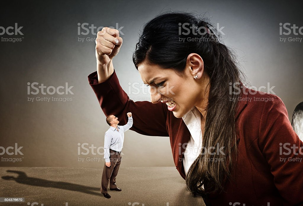 Not afraid of big lady boss stock photo