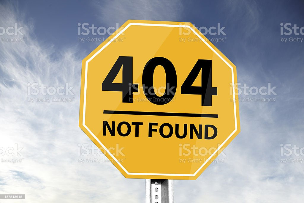404 not found road sign stock photo