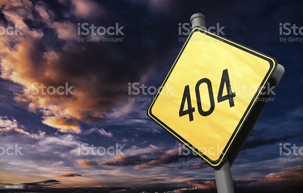 404 Not Found - Road Sign stock photo
