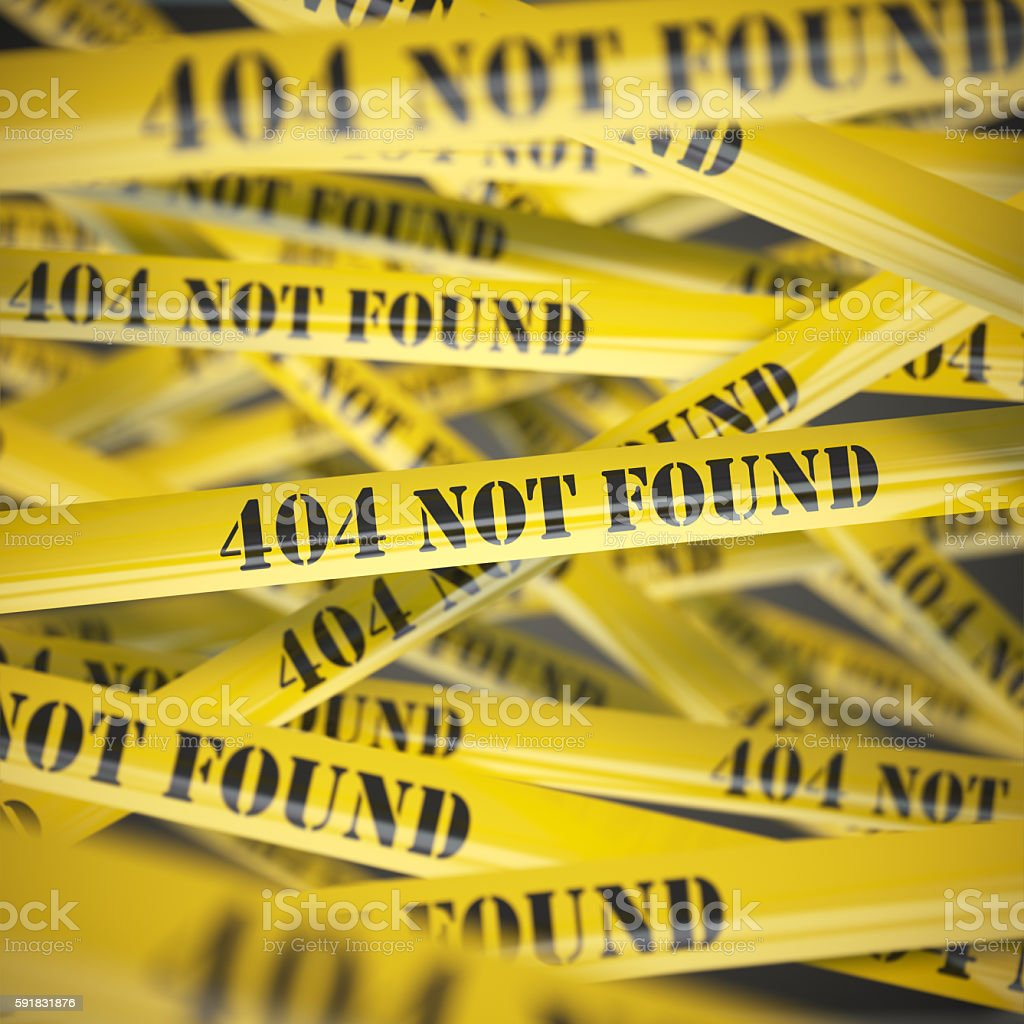 not found yellow caution tape background stock photo