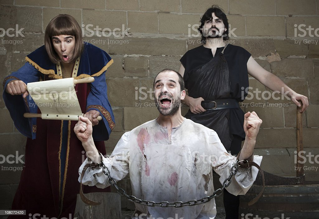 Not guilty: wrongfully convicted is freed before the execution. stock photo