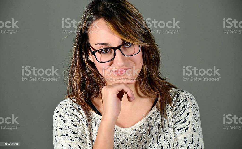 Not impressed woman stock photo