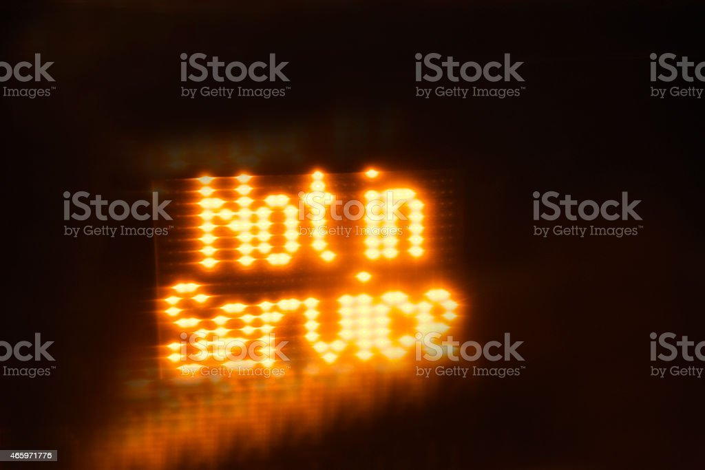 Not in Service LED Message on the Bus stock photo