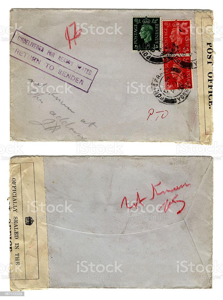 Not known at this address - envelope stock photo
