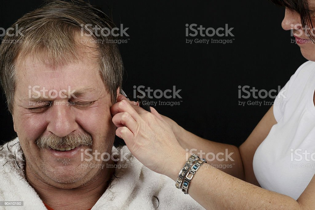 Not my ear! stock photo