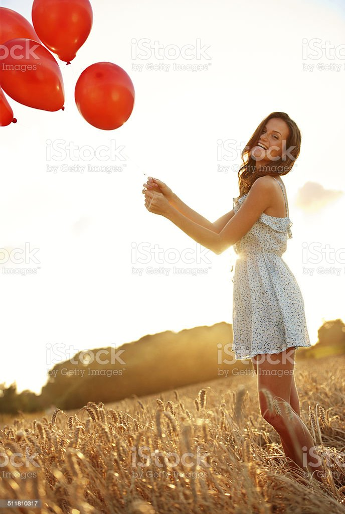 Not quite the hot air balloon she was expecting... stock photo