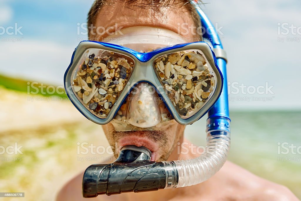 not ready for snorkeling stock photo