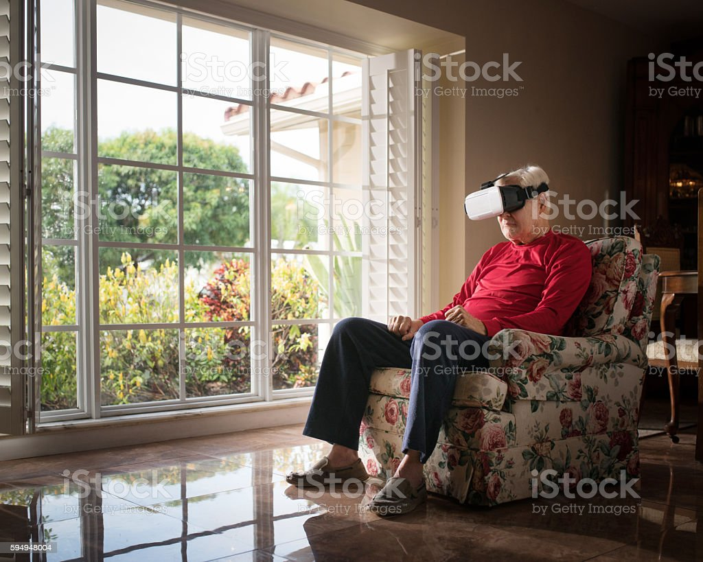 Not so impressed with this VR thing stock photo