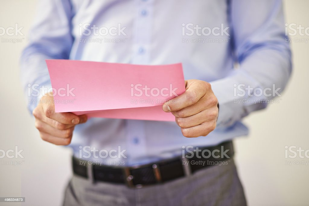 Not the pink slip!!! stock photo