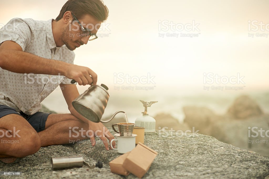 Not too rugged for good coffee stock photo