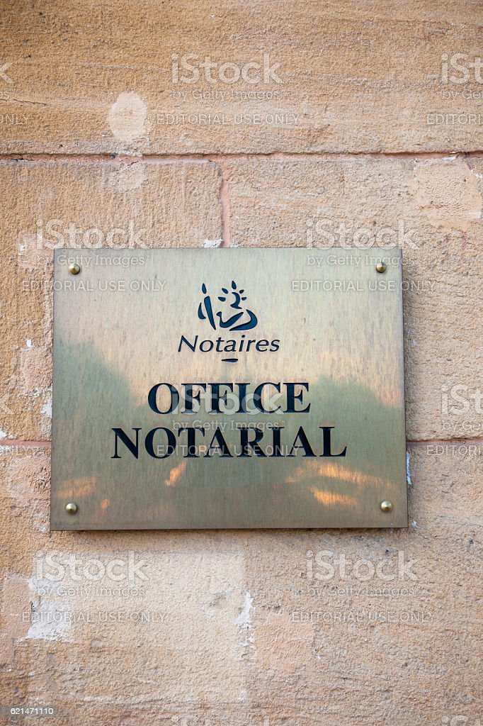 Notaire ofice notarial Notary office sign seen from street stock photo