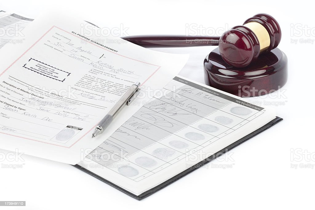 notary documents and gavel stock photo