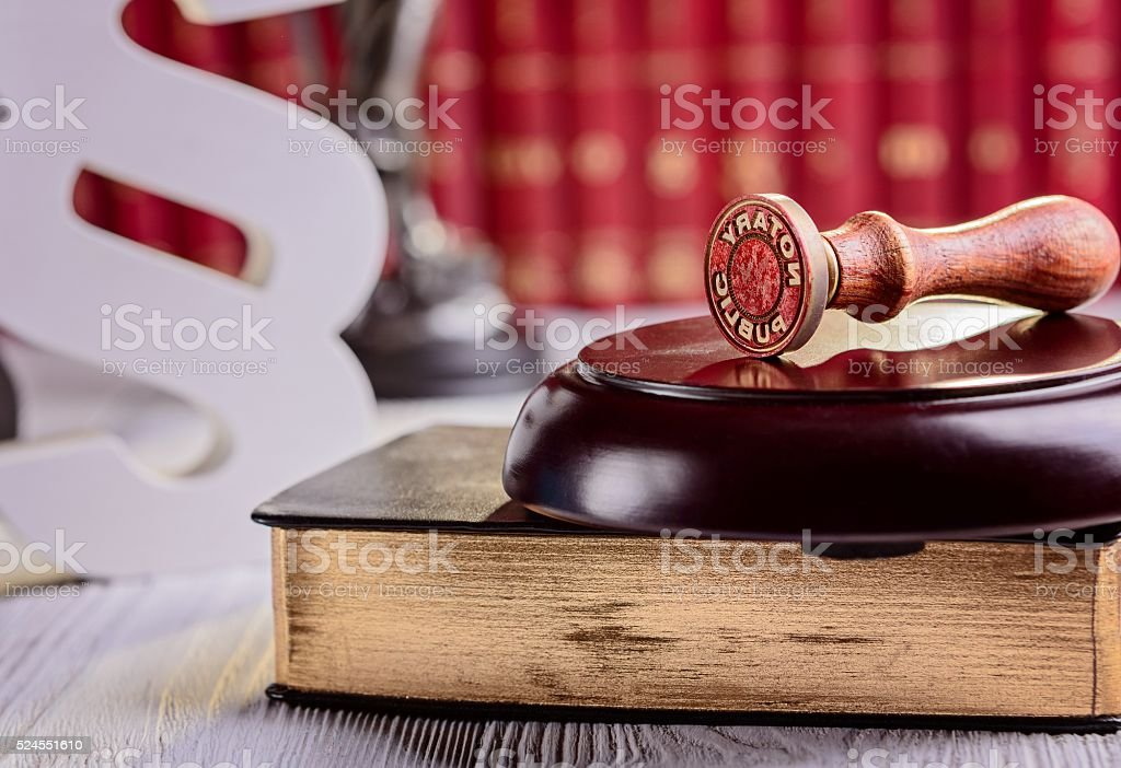 Notary public metal stamper stock photo