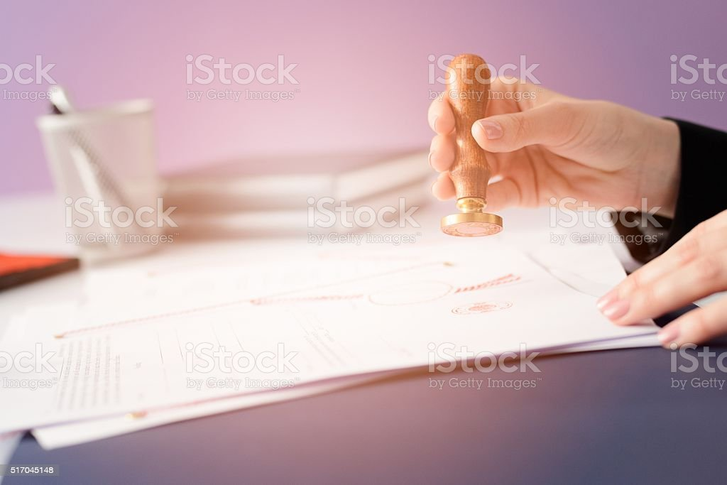 Notary Public notarizes the contract stock photo