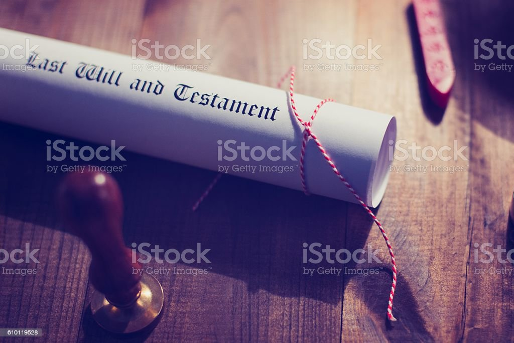 Notary public wax stamp and testament stock photo