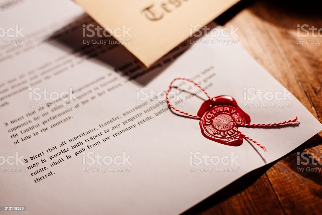 Notary public wax stamp - seal stock photo