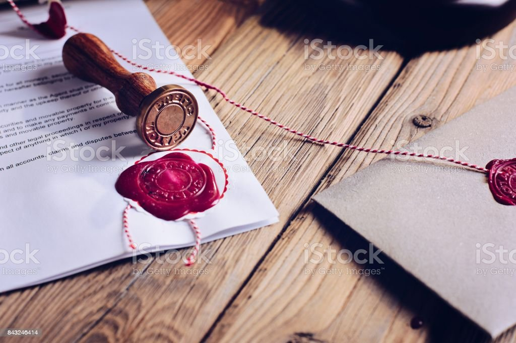 Notary public wax stamper stock photo