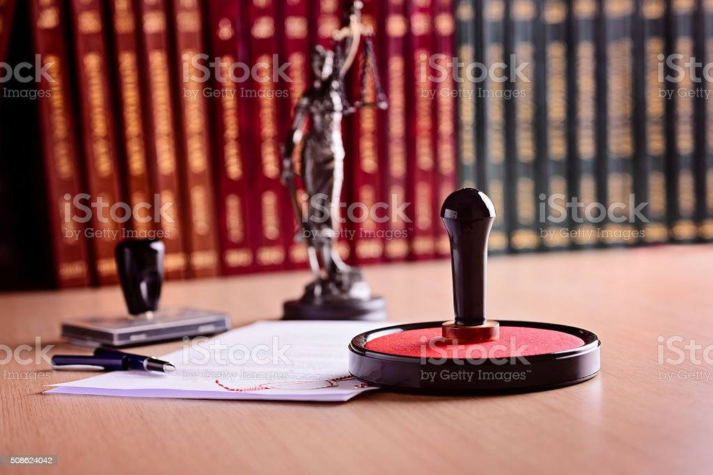 Notary's public working tools. stock photo