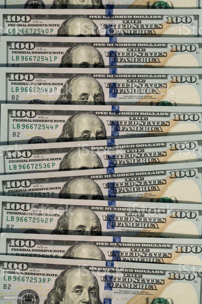 Notas de 100 dólares stock photo