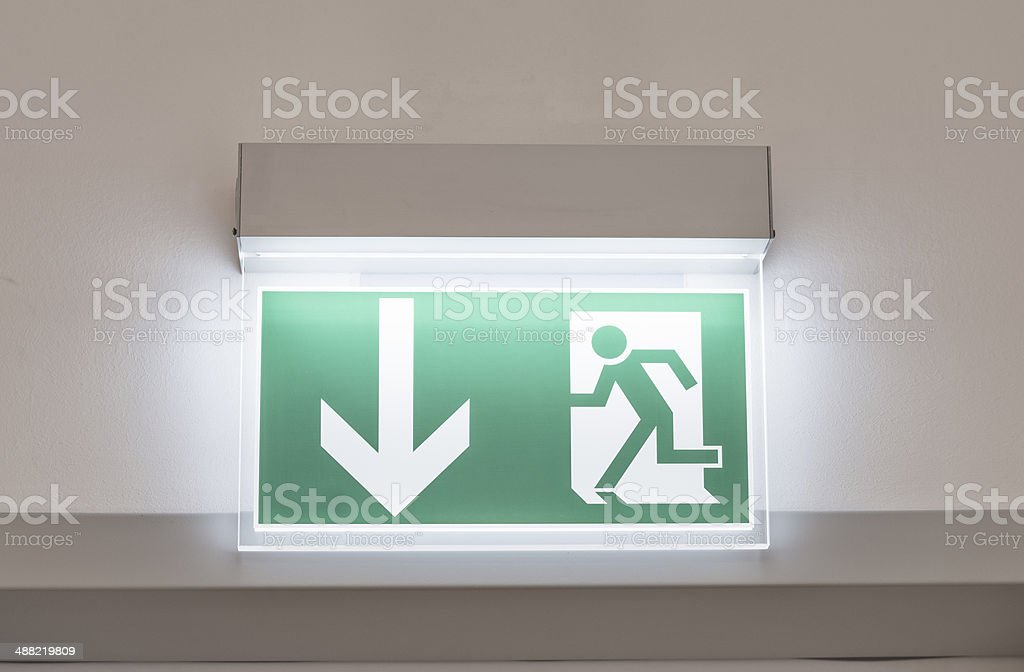 Notausgang Emergency Exit Sign stock photo